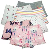 Girls Boyshort Hipster Panties Cotton Kids Underwear Set (B-6 Pack, 5-6 Years)