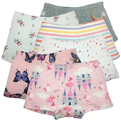 Girls Boyshort Hipster Panties Cotton Kids Underwear Set (B-6 Pack, 5-6 Years) -