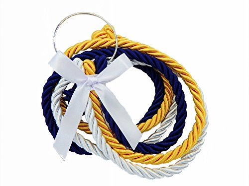 A Cord Of Three Strands Gods Wedding Cords White Gold Navy (Wedding Vows Unity Candle)