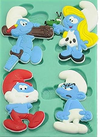 Personajes de los Pitufos 4 Cavidad Molde de silicona para Fondant, pasta de goma &