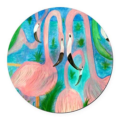 CafePress - Flamingo Party Round Car Magnet - Round Car Magnet, Magnetic Bumper Sticker