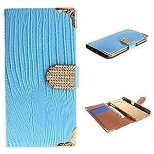 Para Galaxy S6 , ivencase Moda de lujo fresco Style Magnético Style PU Cuero Ranura Para tarjetas Flip Stand Funda Carcasa Tapa Cover Perfecto Fit Para Samsung Galaxy S6 SM-G920 Azul