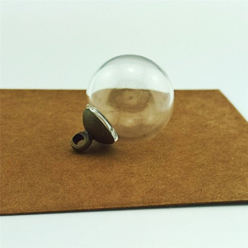 20pcs 16mm Mini Empty clear glass globe 4mm mouth wish glass ball bottles diy pendant charms, 8mm cap include (antique bronze)