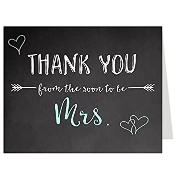 bridal shower thank you cards mint green chalkboard wedding future