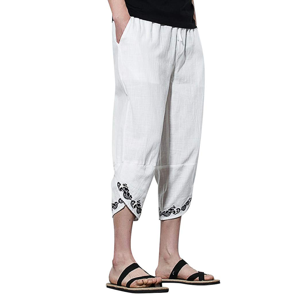 Men's Loose Pants,Clearance -Fashion Casual Solid Linen Plus Size Embroidery Sweatpants Trousers Harem Pant