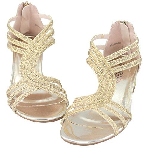 LARA's Women's Metallic Low Heels Dress Sandals Crystals Strappy Chunky Back Zip Gold US 8 EU 38