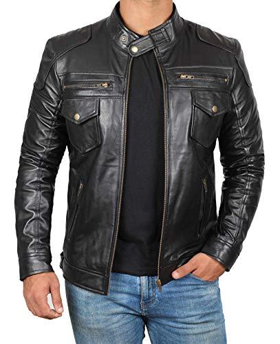Decrum Motorcycle Jackets for Men - Black Slim Fit Biker Leather Jacket Mens