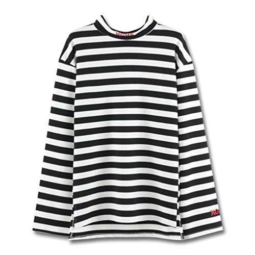 Focal20 Striped Half Turtleneck T Shirt Back Zipper Tee Harajuku Style Tops Letter Embroidered