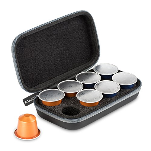 Protective Carrying Case For Nespresso & Compatible Capsules Portable Espresso Maker Coffee Pod Holder PU Material Hard Shell Portable Holds 8 Pods Grey (Espresso Adapter Pod Machine)