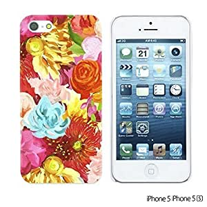 OnlineBestDigitalTM - Flower Pattern Hardback Case for Apple iPhone 5S / Apple iPhone 5 - Red Oil Painting Flower