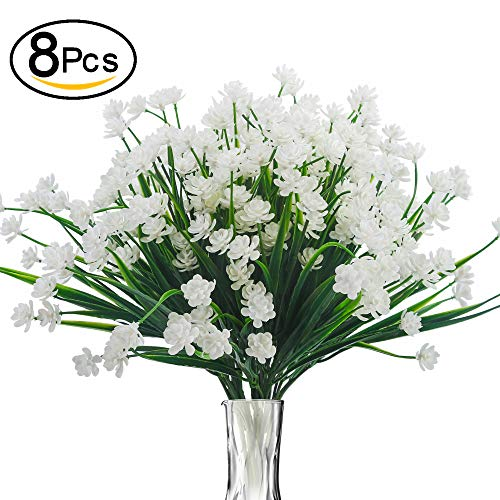 Bomarolan Artificial Greenery Daffodils Fake Shrubs Flowers 8 Bundles UV Resistant Hanging Planter Flora Fence Indoor Outside Decor Cemetery Decor(White)