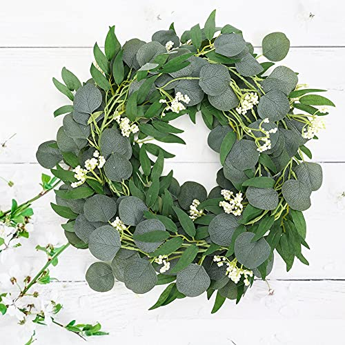 HAKACC Eucalyptus and Willow Leaves Garland ,Faux Eucalyptus Leaves Vine with White Berries for Wedding Home Table Decoration
