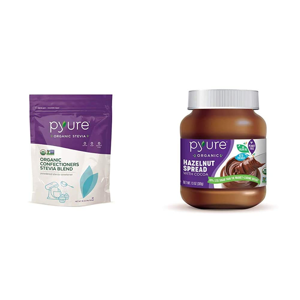 Pyure Organic Powdered Confectioners Stevia Sweetener Blend, 2:1 Sugar Substitute, 1 Pound (16 Ounce) & Organic Hazelnut Spread with Cocoa by Pyure | Keto Friendly, No Palm Oil, Vegan | 13 Oz