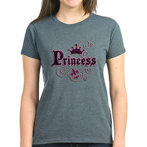 Royal Lion Women's Dark T-Shirt Fleur De Lis Princess - Charcoal Heather, 2X
