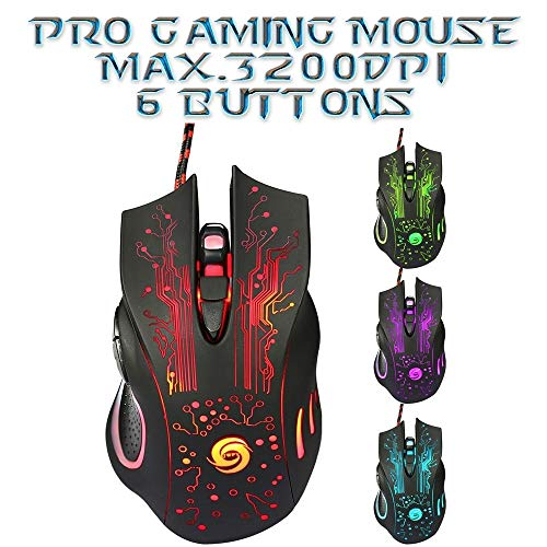 Optical USB Wired Gaming Mouse 6 Buttons Computer For Laptop