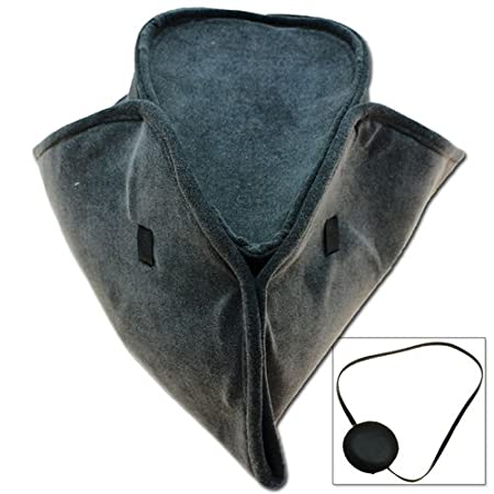 Men's Handmade Pirate, Mariner, Naval Captain, Colonial Tricorn Hat & Leather Eye Patch by Swordsaxe