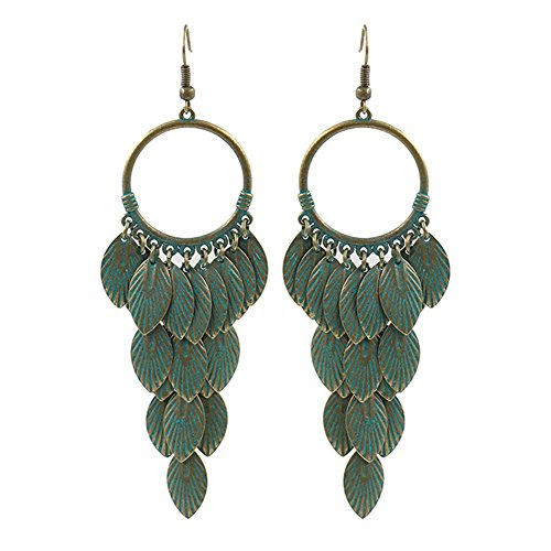 Lureme Vintage Bronze Round with Chandelier Metal Leaf Tassel Dangle Earrings for Women (er005782)
