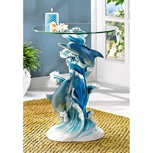 Playful Dolphins Marine Life Glass Top Accent Table by Furniture Creations