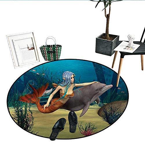 (Mermaid Round Rug Kid Carpet Fairy Marine Cute Mermaid Girl and Dolphin Fish Swimming Underwater in Blue Ocean Image Soft Area Rugs (32