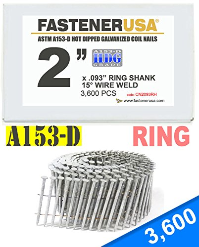 2'' x .093 RING A153-D HOT DIP COIL NAILS 15 DEGREE WIRE 3.6M Box