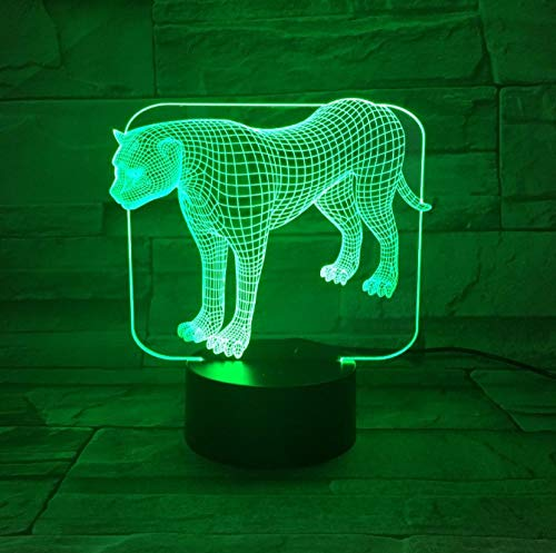 SFALHX Lámpara de Ilusión 3D Acrílico Transparente LED Night Light Stand Leopard Escritorio Lampara Color Cambiable…