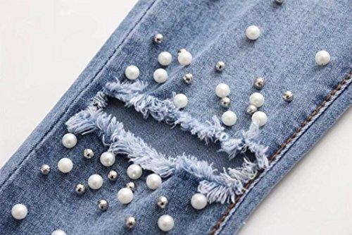 Vaqueros Up Mujer Skinny Cuentas Cintura Slim Largo Push Elástico Lhwy Jeans De Pantalones Alta Lápiz Con xqw15ngS