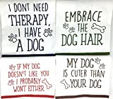 Dog Funny Sayings Kitchen Towels with Hang Loops, Set of 4