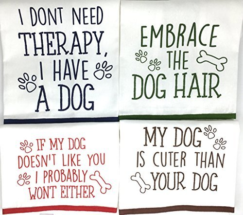 Dog Funny Sayings Kitchen Towels with Hang Loops, Set of 4 by Lucky Dog