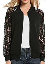Meaneor Women Casual Lace Patchwork Zip-Up Short Slim Fit Bomber Jacket Coat