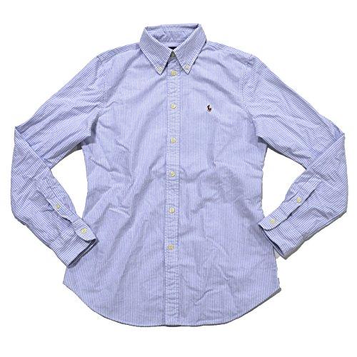 RALPH LAUREN Ralph Laruen Women's Custom Fit Oxford Button Down Shirt (L, Blue Striped)