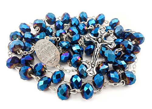 Nazareth Store Deep Blue Sapphire Crystal Beads Rosary Necklace Miraculous Medal & Silver Cross