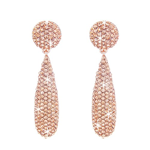 (NLCAC Marquise Dangle Earrings Dual Marquise Chandelier Drop Earrings for Women (tear drop rose gold))