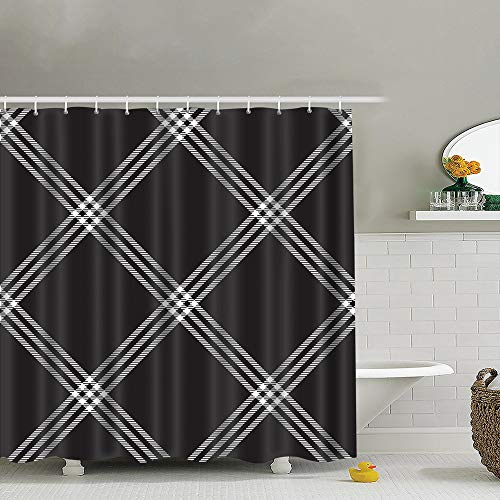 best bags Black White Check Plaid Fabric Texture Beauty Fashion Waterproof Shower Curtain Liners Bathroom Decoration with Rust Proof Hooks 66X72 Inch