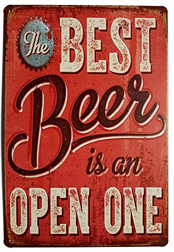 Forever_USA Tin Sign | Metal Wall Sign | The Best Beer is an Open One 8 x 12 in. | Fun Decorative Sign for Home Kitchen Bar Room Garage Decor | Vintage & Retro Beer Style (Decorative Beer Signs)