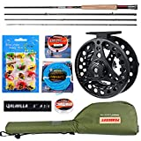 Fly Fishing Rod and Reel Combos Fly Fishing Full Kit 4 Piece Fly Rod Complete Starter Package Outfit Fly Rod Fly Reel with Travel Case