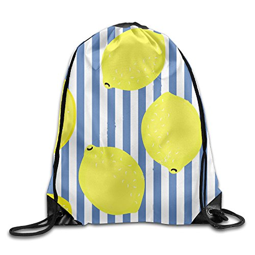 Price comparison product image Disaeq Lemon Summer Fruit Leisure Beam Backpack Drawstring Bag Backpack Travelling Bag Bundle Pocket Canvas Storage Bag