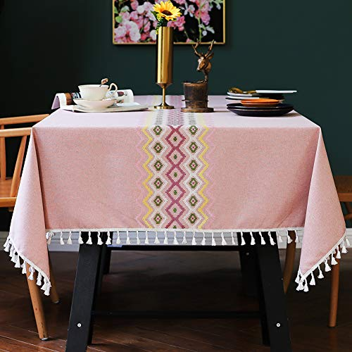 smiry Embroidery Tassel Tablecloth – Cotton Linen Dust-Proof Table Cover for Kitchen Dining Room Party Home Tabletop Decoration (Rectangle/Oblong, 55 x 120 Inch, Pink)