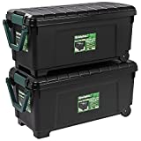IRIS Remington 169 qt. Store-It-All Rolling Storage Totes in Black (Set of 2)