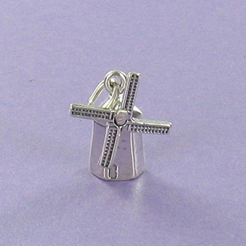 (Windmill Charm Sterling Silver for Charm Bracelet Dutch Holland Solvang Energy - Jewelry Accessories Key Chain Bracelets Crafting Bracelet Necklace Pendants )
