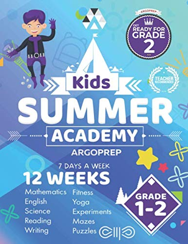 Kids Summer Academy by ArgoPrep - Grades 1-2: 12 Weeks of Math, Reading, Science, Logic, Fitness and Yoga | Online Access Included | Prevent Summer Learning Loss