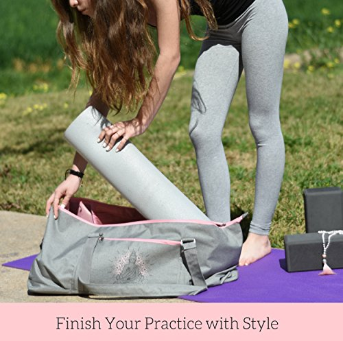 Large Yoga Mat Tote Bag | Full Zipper Closing | Adjustable Strap | Many Compartments | Easy To Carry | Fits Thick Mats| Perfect Valentine's Day Gift For Yogis