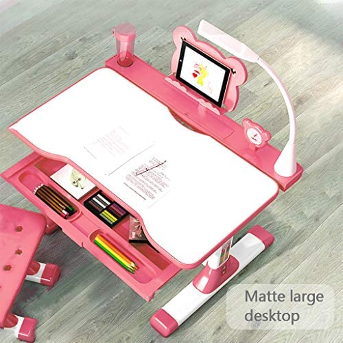 Home Kids Study Desk And Chair Set Children Table & Chair Set With Storage Drawers Kids Children Study Writing Drafting Table Height Adjustable Students Desk For 4 6 8 10 Years Boy & Girls (Pink)