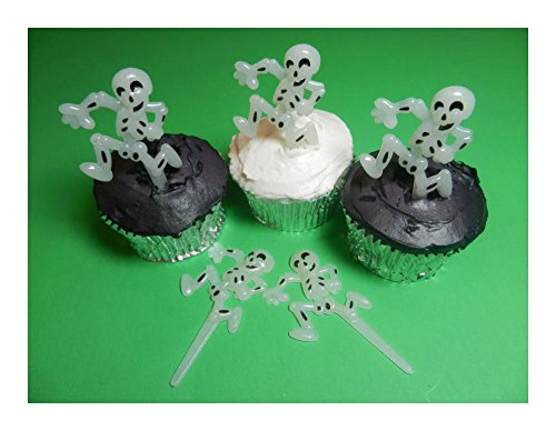 (12 Skeleton Halloween Glow in the Dark Cupcake Toppers Picks Cake Decorations Best Selling Prod Halloween Party)
