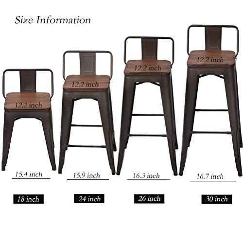 Changjie Furniture Pack of 4 Low Back Gunmetal Counter Bar Stool Indoor-Outdoor Bistro Cafe Bar Stool (18 inch, Low Back Wooden)