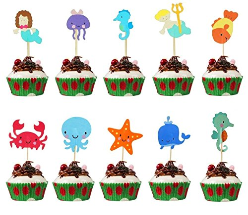 Mity Rain Ocean Sea Animal Cupcake Topper For Under the Sea Theme Party and Kids Birthday Party Decoration, 48 Pack Mermaid Starfish Whale Octopus Crab Sea Horse Cupcake Topper Picks