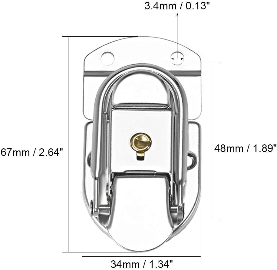 ZUQIEE 67mm x 34mm Metal Small Size Suitcase Lock Hasp Catch Latch with Keys and Screws 2 Pcs Screw