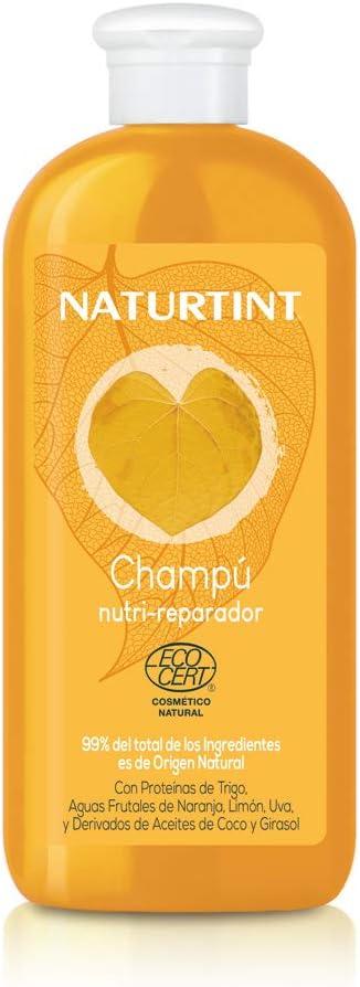 Naturtint Eco Champú Nutrición y Reparación Profunda, Pelo Seco y Dañado, 99% Ingredientes Naturales, Vegano, Sin Siliconas ni Parabenos, Aguas Frutales de Naranja, Limón y Uva - 330ml