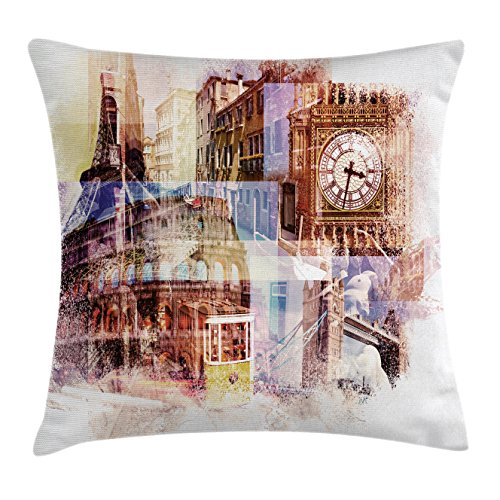 Lunarable Europe Throw Pillow Cushion Cover, Popular Landmarks Theme Big Ben London Eiffel Tower Paris Coliseum Rome Canal Venice, Decorative Square Accent Pillow Case, 28 X 28 Inches, Cream Blue (Furniture Set Venice Office)