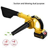 Dtemple 18V Max 4.0AH 110V Lithium-Ion Cordless Blower, Variable Speed Electric Leaf Blower US STOCK (Yellow)