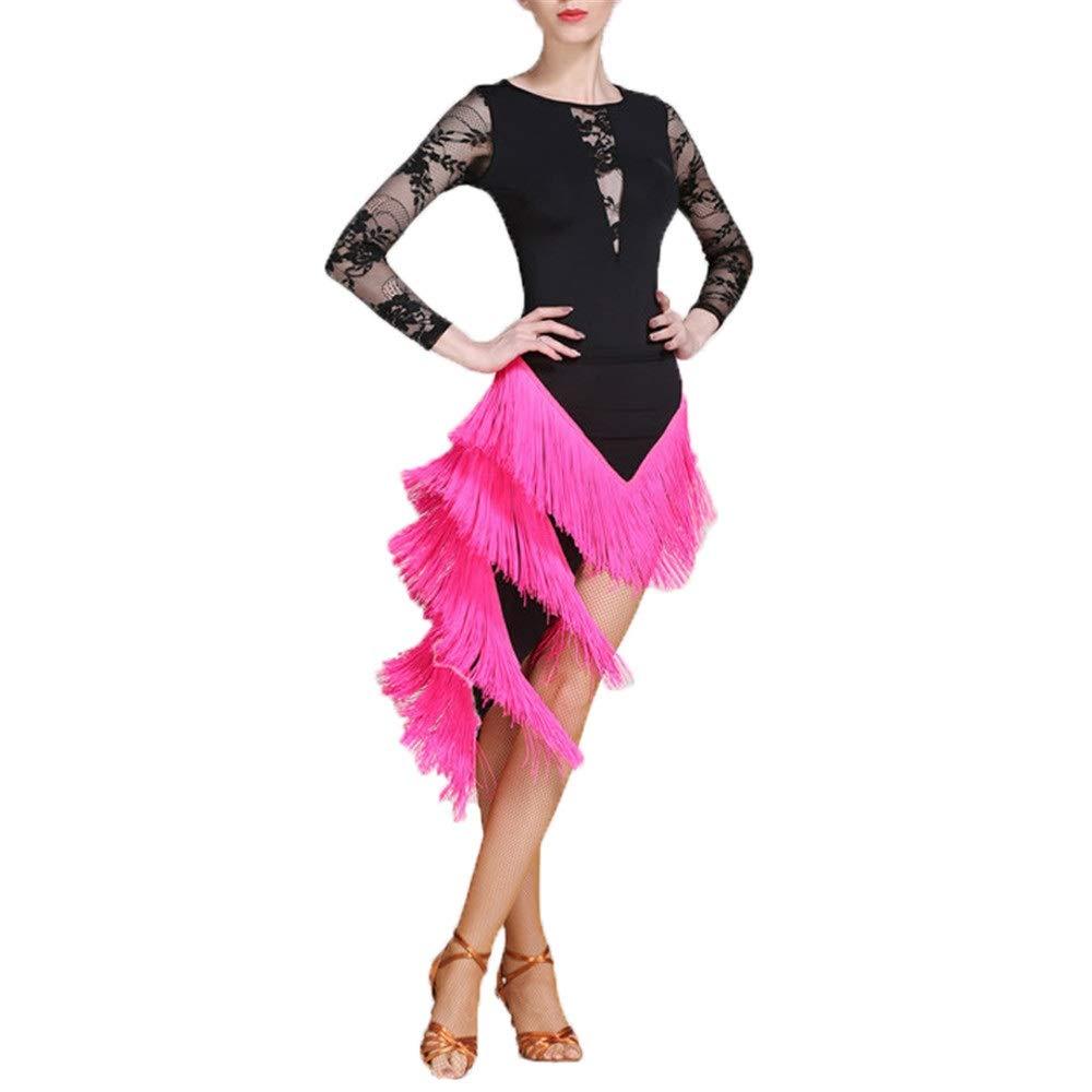 Rose Rouge petit VêteHommests de soirée pour femmes Femmes Danse Latine Outfit Robe De Danse Robe Costume Ensemble Professionnel Perforhommece Danse Robe Lyrique Robe Tassel Jupe Danse Compétition Robe Costume Robe de bal